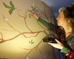 Jane Burke muralist, chinoiserie tree of life