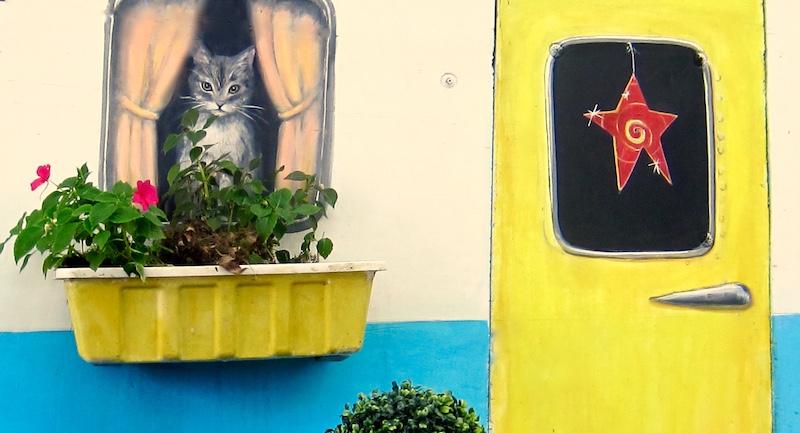 detail: outdoor garden mural, janeburkemurals.com
